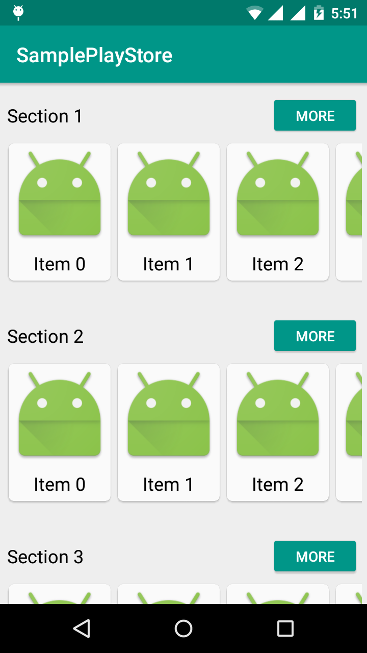 Horizontal RecyclerView in Vertical RecyclerView like Google Play