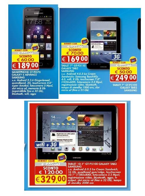 Bennet nel suo ultimo volantino di metà giugno propone una serie di Tablet e smartphone di marca Samsung a prezzi ribassati