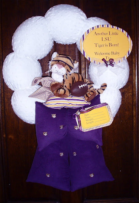 "91. ""Go LSU!"" custom baby wreath"
