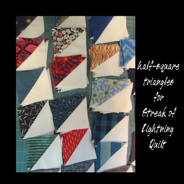 half-square triangles for Streak of Lightning quilt