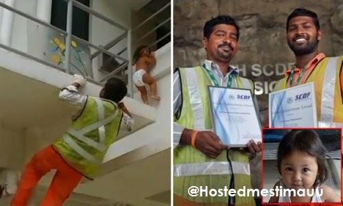 Wajah lelaki selamatkan kanak kanak comel dari jatuh