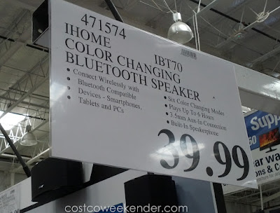 Deal for teh iHome iBT70 Color Changing Speaker at Costco
