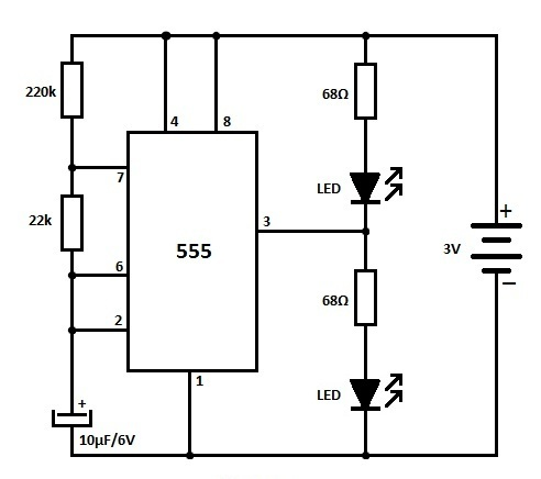 Led Flasher Using 555 Timer Ic on 555 timer led flasher circuit