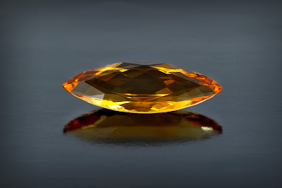 Citrine with faceted marquis cut