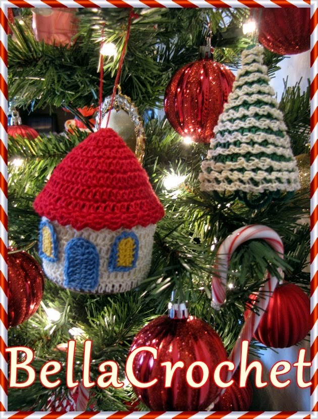 bellacrochet country cottage and tree ornaments a free crochet pattern for you. Black Bedroom Furniture Sets. Home Design Ideas