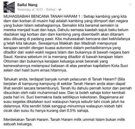 Kenyataan kontroversi Saiful Nang tentang Bencana di Makkah