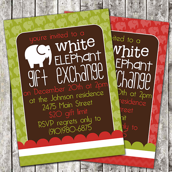 Perpetual Love Design – White Elephant Christmas Party Invitations