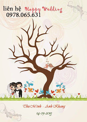 vẽ tranh vân tay,tranh vân tay đám cưới