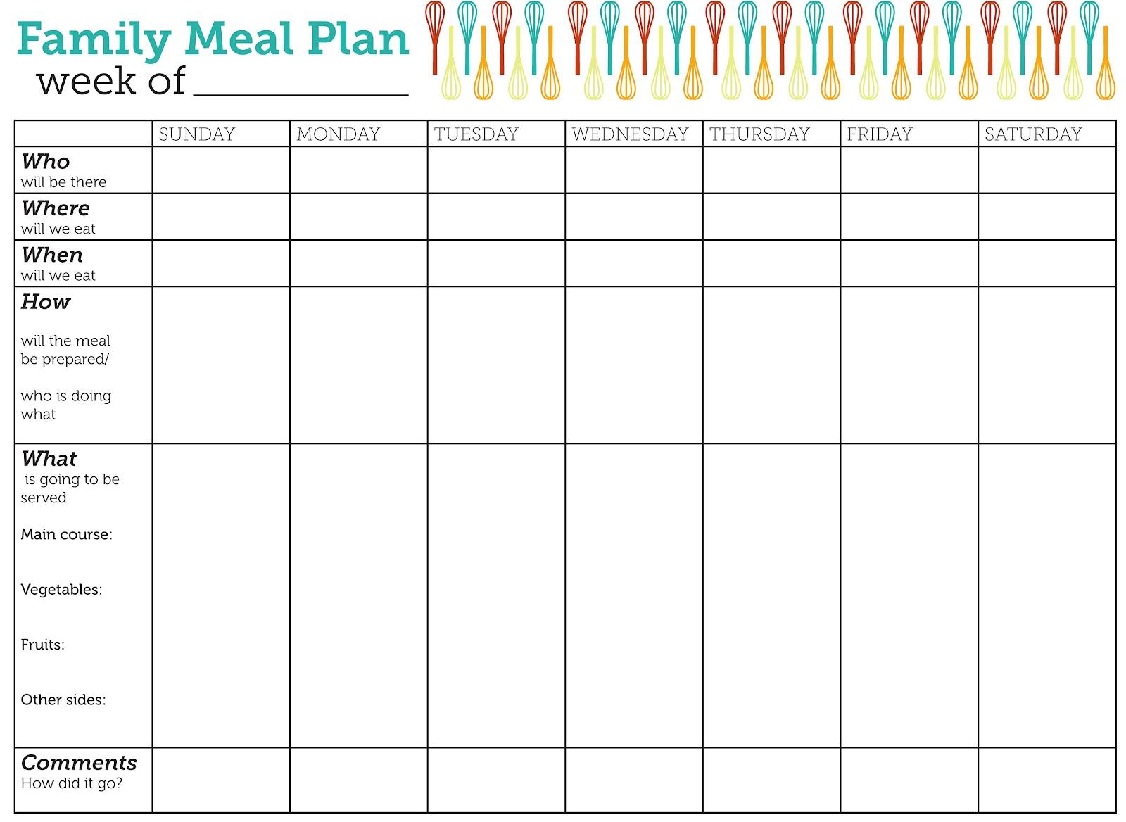 Weekly dinner meal planner template car interior design - Printable Weekly Dinner Meal Planning Chart Car Interior Design