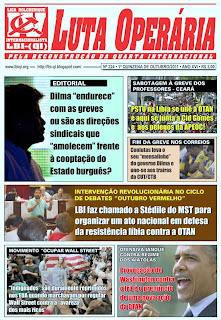 LEIA A EDIÇÃO DO JORNAL LUTA OPERÁRIA, Nº 224, 1ª QUINZENA DE OUTUBRO/2011