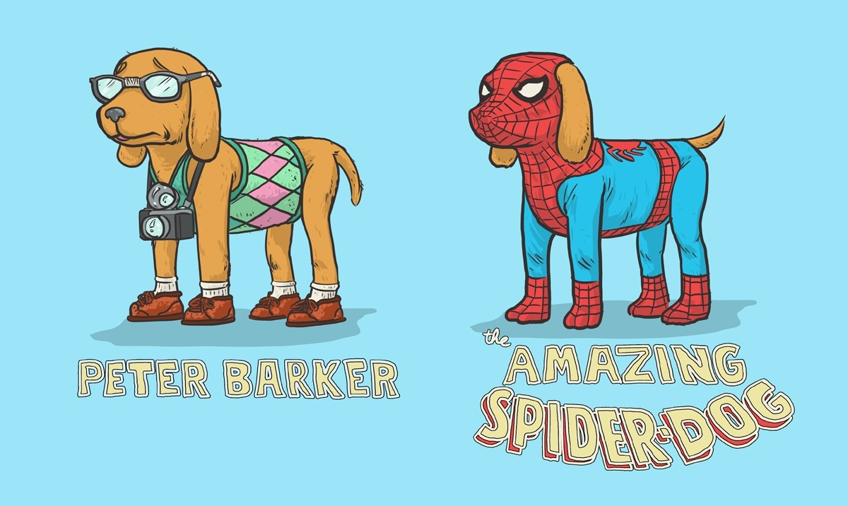 12-Peter-Parker-Spider-Man-Josh-Lynch-Illustrations-of-Dogs-with-Marvel-Comic-Alter-Egos-www-designstack-co