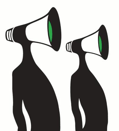 Højtråbende debattører, med megafon uden ører