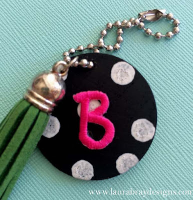 monogram fabric key fob diy