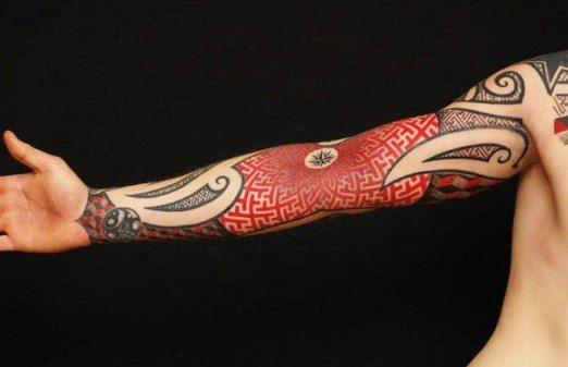 Elegant black red patterns tattoo on full arm