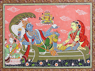 Vishnu and Lakshmi in Vaikuntha; Rajasthani haveli painting