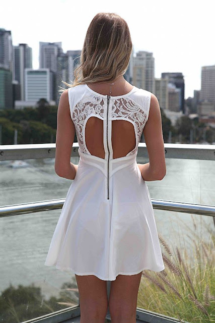 Panel lace bodice skater dress design from Xenia