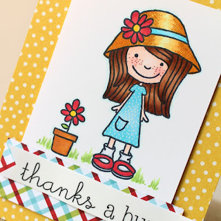 SRM Stickers Blog - Little Miss Mia Thank You Cards by Tessa W.- #cards #thankyou #stamps #clearstamps #stickers #janesdoodles #littlemissmia #twine