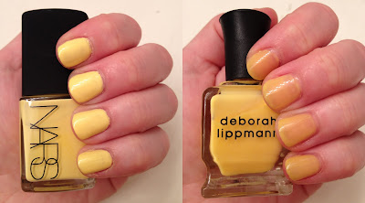 NARS, Deborah Lippmann, NARS Andy Warhol Collection, NARS 15 Minutes, Deborah Lippmann Yellow Brick Road, nails, nail polish, swatches, comparison swatches, nail lacquer, nail varnish, manicure