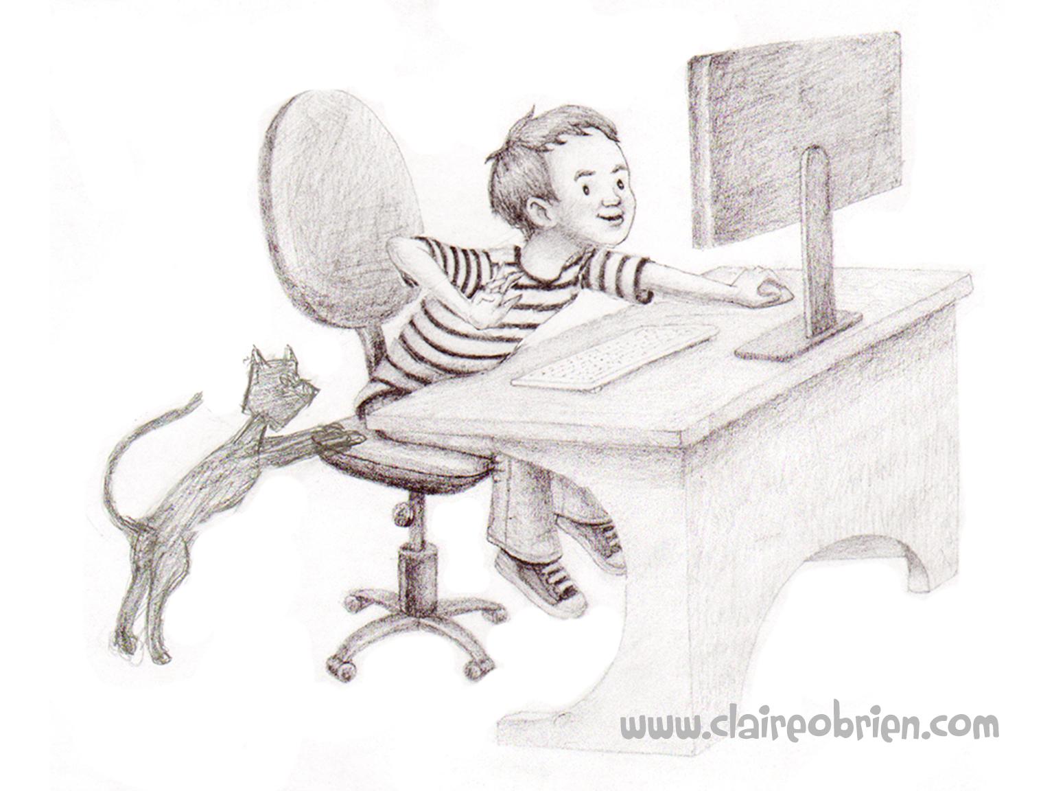 Claire O'Brien Art - Computer Boy and Cat
