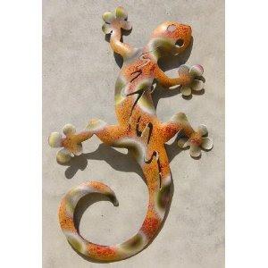Gartendeko wanddeko gecko metall wetterfest echse orange gr n salamander 28 cm - Gecko wanddeko ...