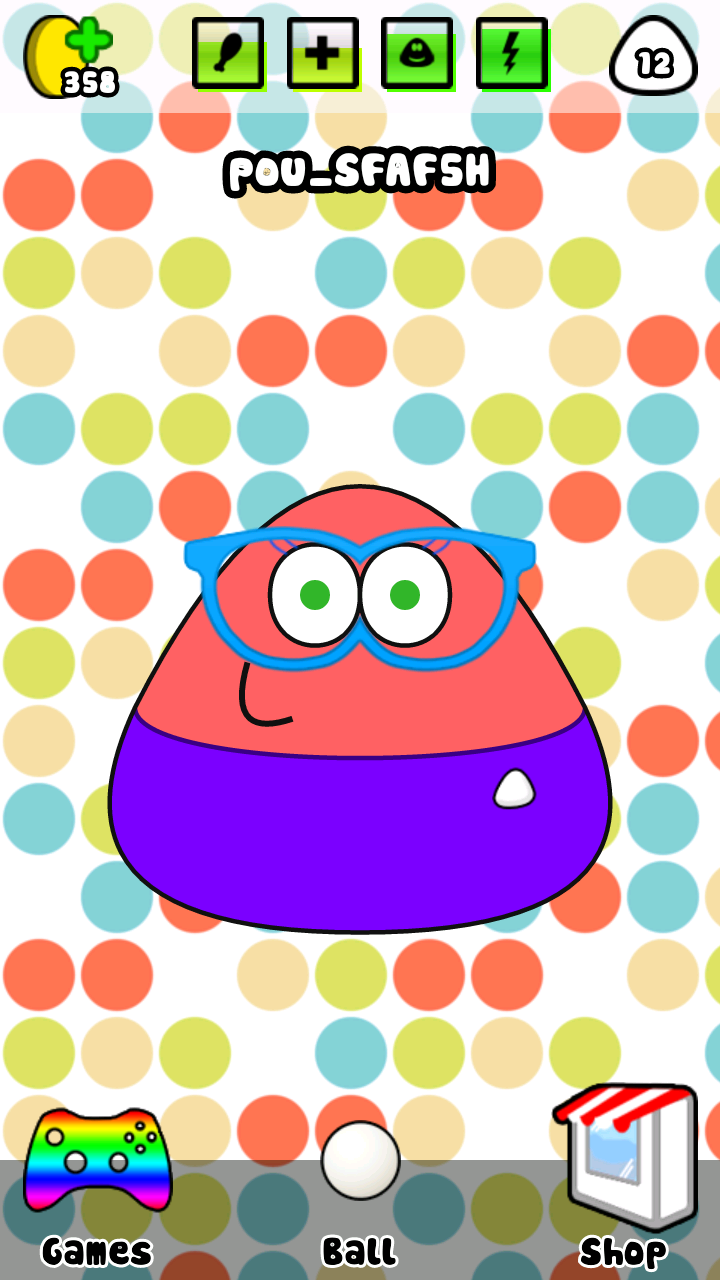 this is how my latest pou looks like in her game room.