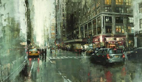 Jeremy Mann pinturas a óleo borradas paisagens urbanas cidades