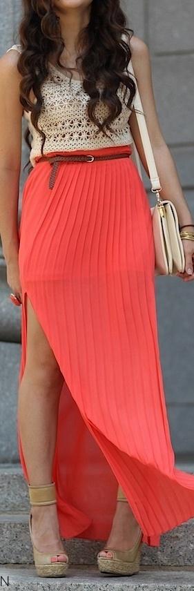 Crochet top & Maxi skirt summers style