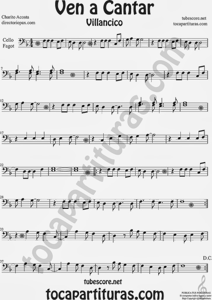 Ven a Cantar Partitura de para Violonchelo y Fagot by Sheet Music for Cello and Bassoon Music Scores