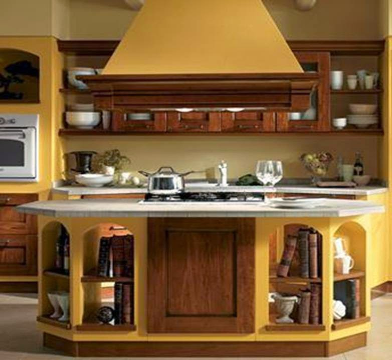 the most beautiful brown and yellow kitchen