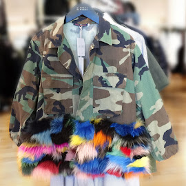 Harvey Faircloth Camo and fur field jacket.