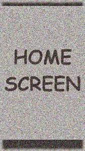 Das Bild zeigt einen nachempfundenen Smartphone-Homescreen, mit dem Schriftzug 'HOMESCREEN'.