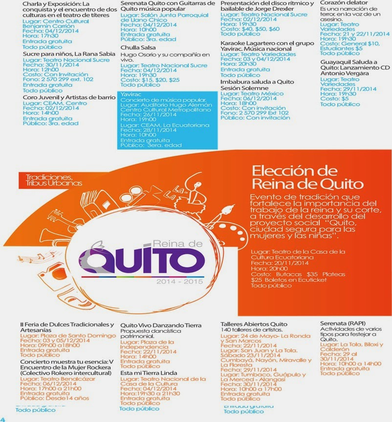 Programa eventos fiestas de Quito 2014