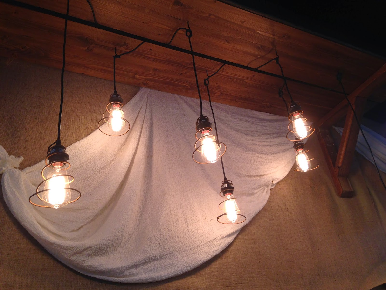 Vintage bed springs pendant lighting
