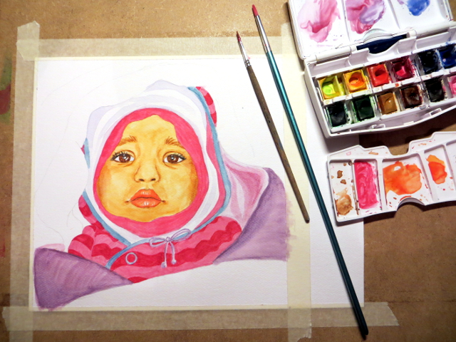 Baby portrait painting WIP