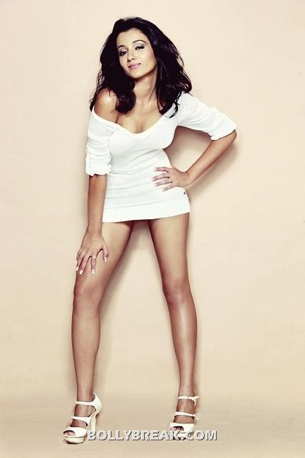 Trisha Krishnan Hot Legs in white dress - (2) - Trisha Krishnan Sexy Legs, Short White Dress