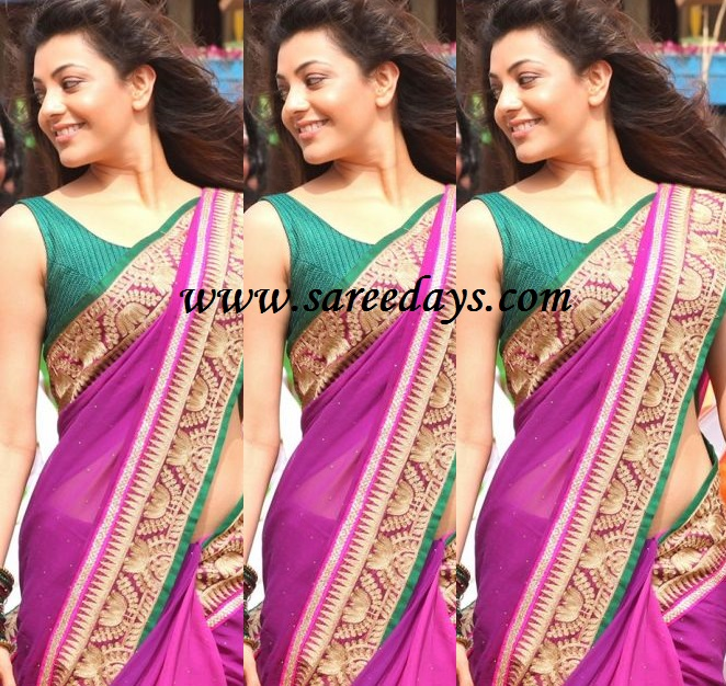 Latest saree designs kajal agarwal in lavender designer saree checkout kajal agarwal in lavender designer saree with appliqued border and paired with contrast sleeveless blouse altavistaventures Image collections