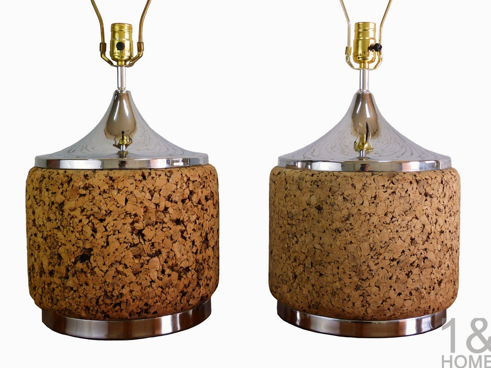 chrome and cork table lamps by Laurel.