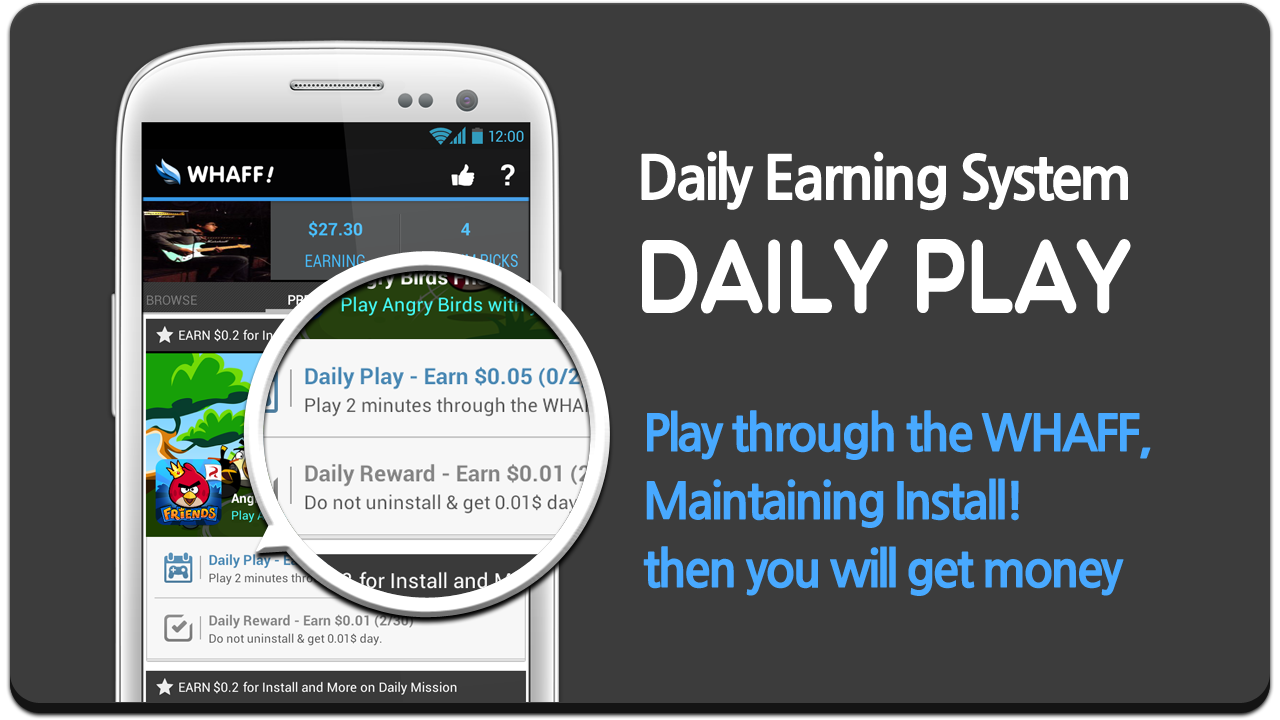 Cara Dapat $4-5/Hari Dari aplikasi Whaff di Android