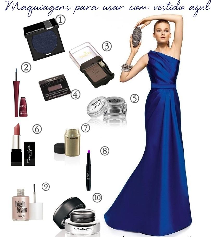 Maquiagem para casamento vestido azul bic