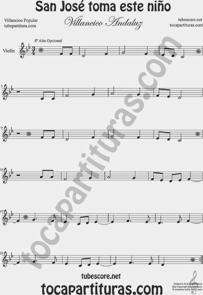 San José toma este niño  Partitura de Violín Sheet Music for Violin Music Scores Music Scores