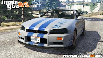 V - Nissan Skyline R34 GT-R 2002 Fast and Furious para GTA V PC
