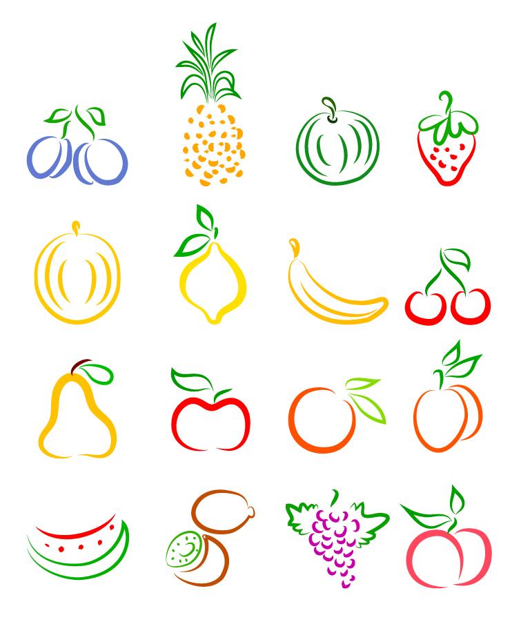 果物の線画アイコン集 vector fruits icon set イラスト素材