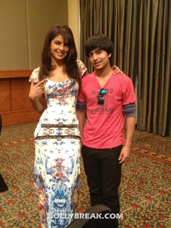 Priyanka chopra in a beautiful multi colored floor length dress -  Priyanka Chopra meets her Twitter fan follower