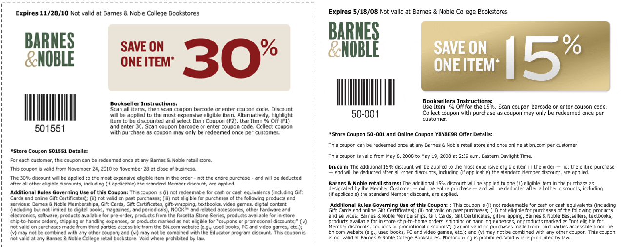 As the world's largest bookstore chain, Barnes & Noble has all the latest books, texbooks, dvds, music and more. Find online and in-store Barnes and Noble Coupons for discounts including daily sales and special offers for various titles including NOOK ebooks. Also get today's free printable coupons for Barnes & Noble Starbucks cafés.