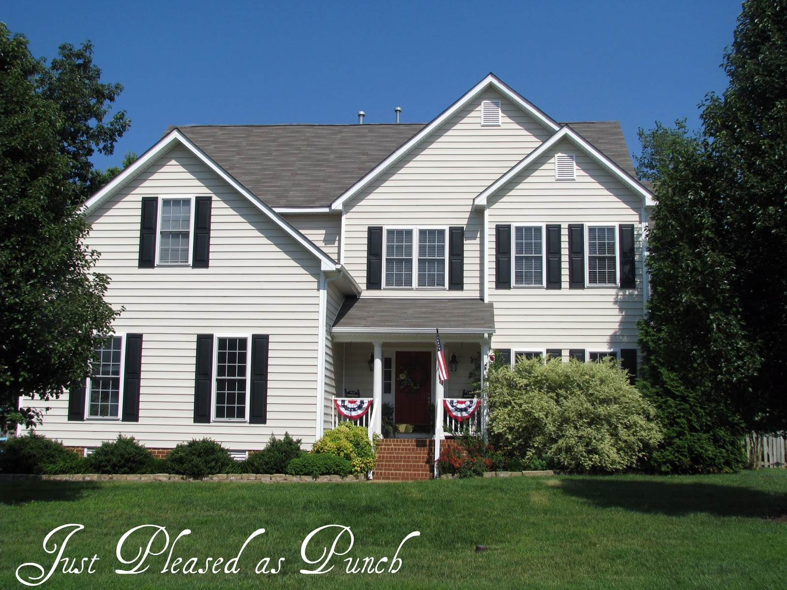 Just Pleased As Punch Before After House Pics W New Shutters Red Door A Little Exterior