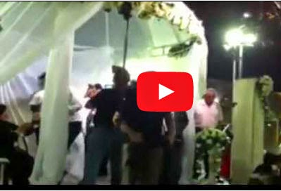 سرائيليين في زفاف بعد مشاهدتهم للصواريخ تعبر فوق رؤوسهم!