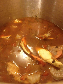 In the process of adding the seafood just before serving the cioppino