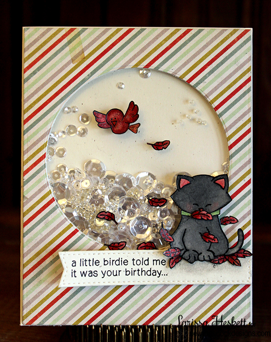 Cat and Bird Birthday Shaker Card by Larissa Heskett | Newton's Birthday Flutter Stamp set by Newton's Nook Designs