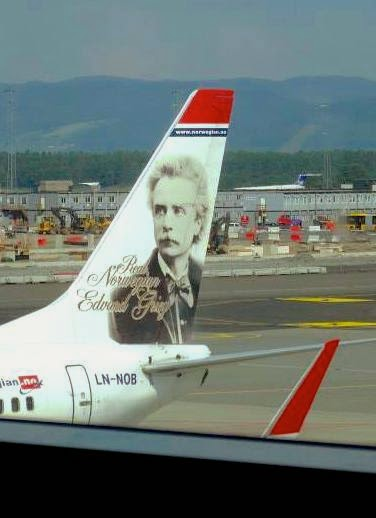Edvard Grieg's portait on the tail of an airplane