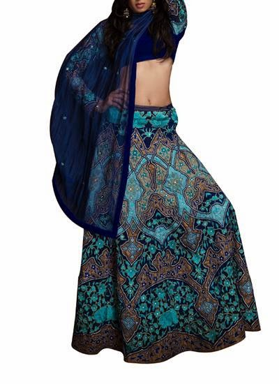 Opulent Navy and Tourquoise Lehenga | Indian Designers | Indian Designer Dress